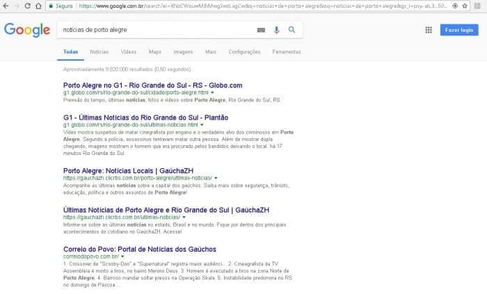 exemplo de resultado de pesquisa orgânica no Google